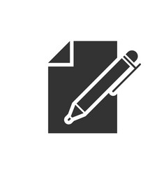 document with pen icon vector image