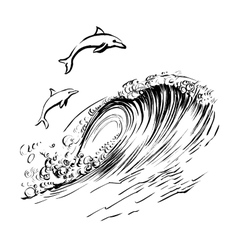 Dolphins jump in the waves brush ink sketch vector image