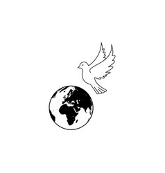 earth dove peace icons vector image