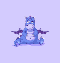 Emoji character cartoon dragon dinosaur sad vector