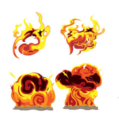 fire bomb effect element set vector image