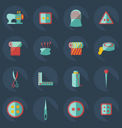 Flat concept set modern design with shadow sewing vector