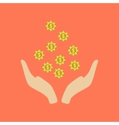 Flat icon on stylish background coins in hand vector