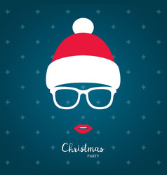 girl in winter red hat christmas vector image
