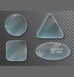 glass transparent banners set glass plates vector image