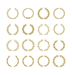 gold laurel foliage wreath set vector image