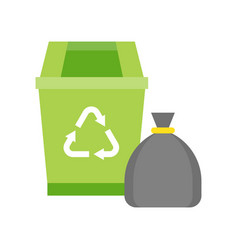 Green recycle bin and garbage bag cleaning and vector