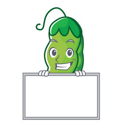 Grinning with board peas character cartoon style vector