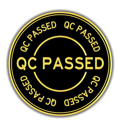 Grunge qc passed word oval rubber seal stamp on vector