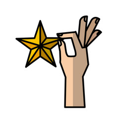 Hand human with star vector