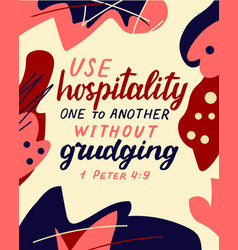 Hand lettering wth bible verse be hospitality one vector