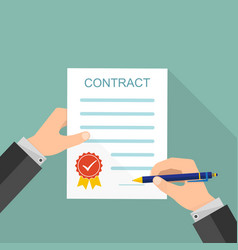 Hand signing of contract vector