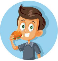 happy boy eating a hamburger cartoon vector image