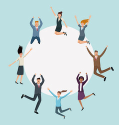 Happy business people jumping with round frame vector
