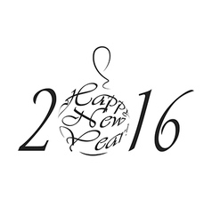 Happy New Year 2016 black and white logo vector