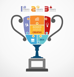 Infographic Template with trophy jigsaw banner vector