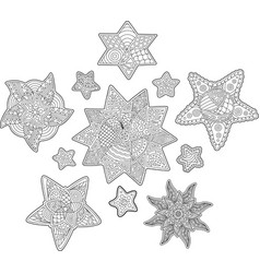 isolated beautiful stars for coloring book pages vector image