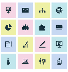 Job icons set collection of presentation board vector