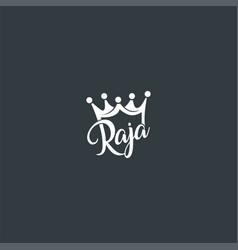 king or raja or crown symbol design vector image
