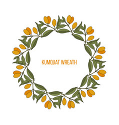 Kumquat citrus japonica wreath vector