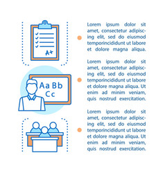 Language learning article page template vector