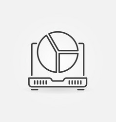 laptop with pie chart concept icon vector image