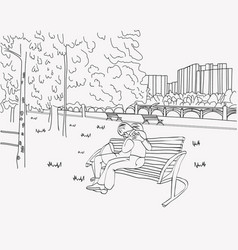 loving couple sitting and hug on bench in the park vector image