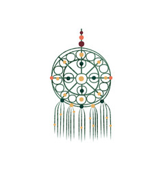 Macrame with colorful beads dream catcher made of vector
