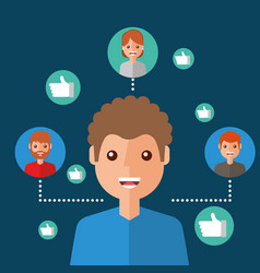 man character viral content people connection vector image