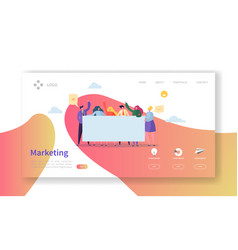 marketing team landing page team work concept vector image