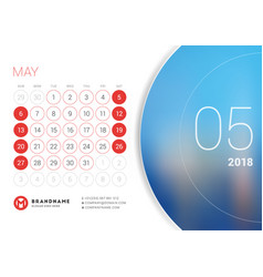 May 2018 desk calendar for 2018 year vector