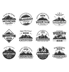 mountain expedition and rock climbing icons vector image