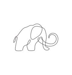 one single line drawing big mammoth business vector image