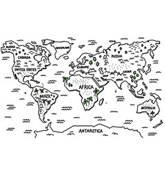 Outline sketch world map trees vector