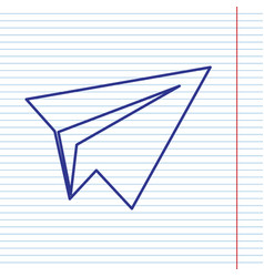 Paper airplane sign navy line icon on vector