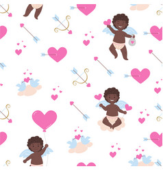 Pattern with african cupid boys vector