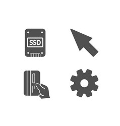 payment card mouse cursor and ssd icons service vector image