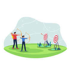 People with bow archery and target vector