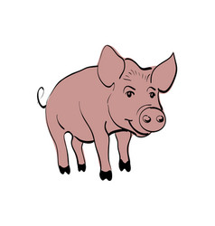 pink pig sketch chinese new year 2019 vector image