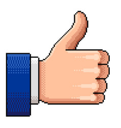 pixel thumb up like isolated vector image