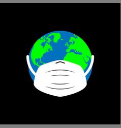 Planet in medical mask global pandemic dangerous vector