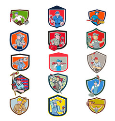 plumber mascot crest cartoon set vector image
