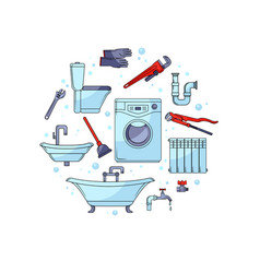 plumbing banner template with tools and equipment vector image