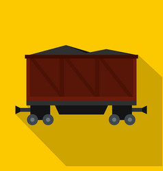Railway wagon loaded with coal icon flat style vector