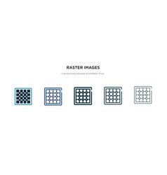 Raster images icon in different style two vector