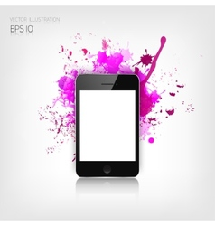 Realistic detalized flat smartphone with abstract vector image