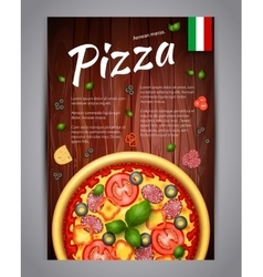 Realistic vertical pizza flyer on wood vector