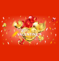 red and yellow gold foil heart shape balloons and vector image