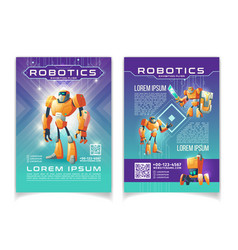 Robotics exhibition advertising flyer pages vector