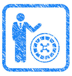 Roulette croupier framed grunge icon vector